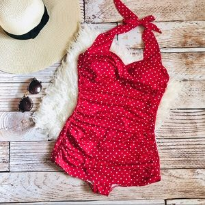 Suddenly Slim by Catalina Retro Red Swimsuit - S